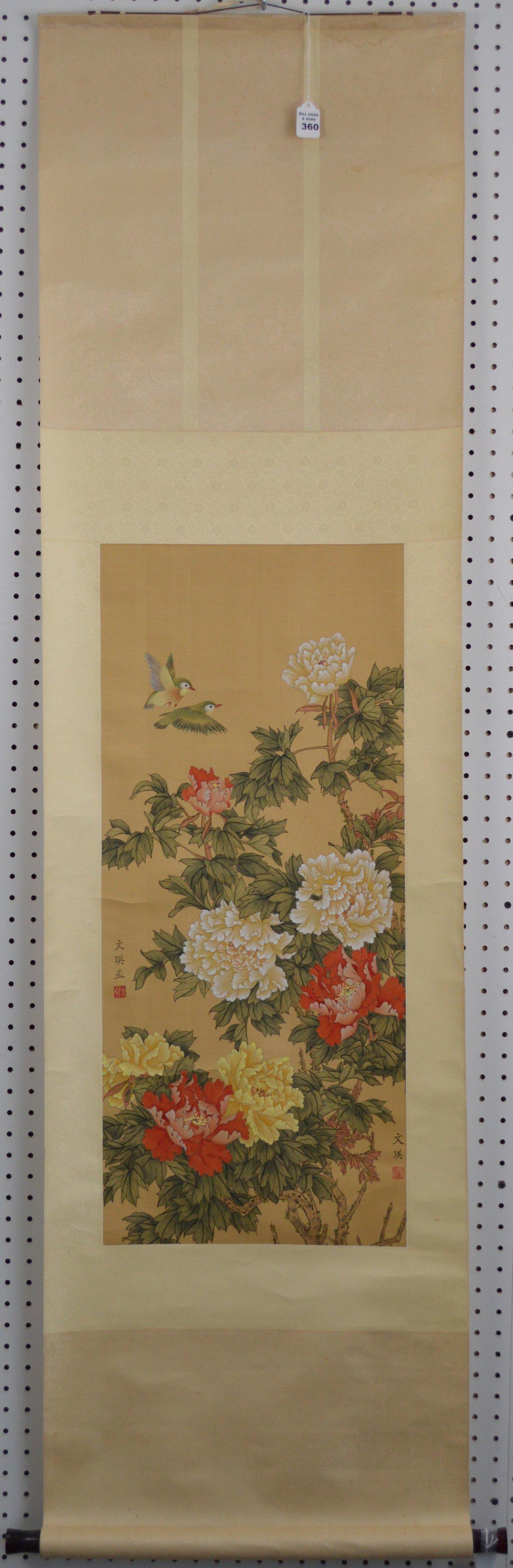 CHINESE SCROLL PAINTING REPUBLIC , landscape flower and