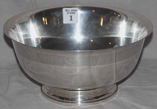 """1: Sterling Silver Revere Style Bowl, 18oz, 9""""diax 4""""h"""