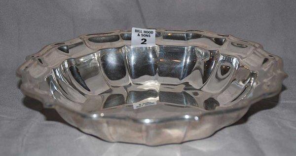 "2: Scalloped Rimmed Sterling Silver Bowl, 13oz, 9 1/2""d"