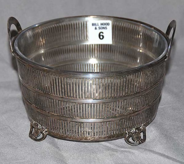 6: Sterling silver reticulated basket with glass bowl i