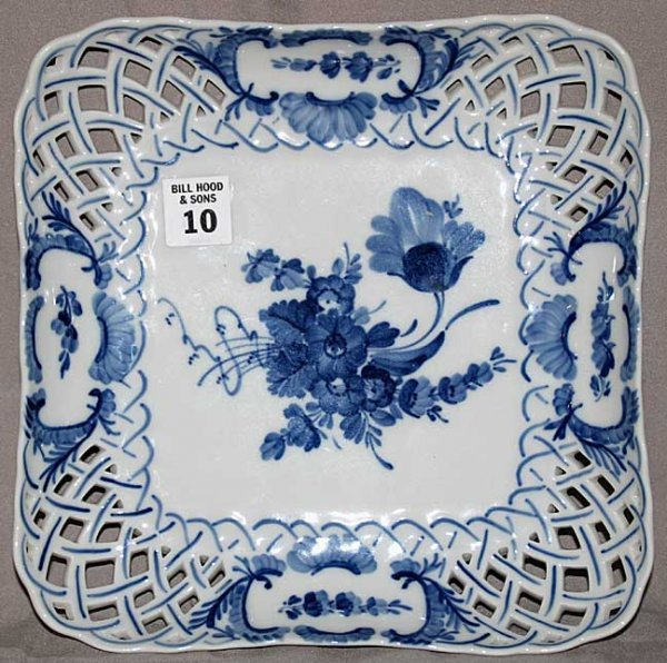 10: Royal Copenhagen shallow square bowl with reticulat