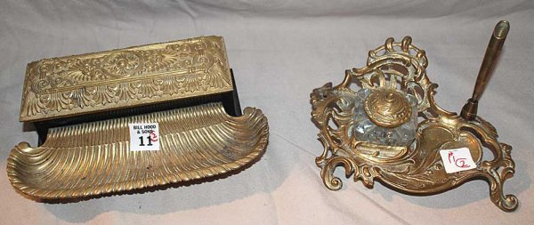 11: Two brass inkwells, 1 art nouveau, the other ornate