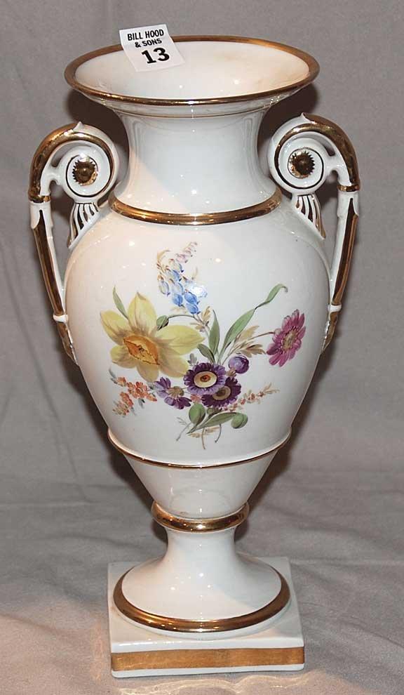 13: Meissen 2 handled vase, urn shape floral on white g