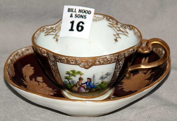 16: Meissen cup & saucer, classical courting couples on