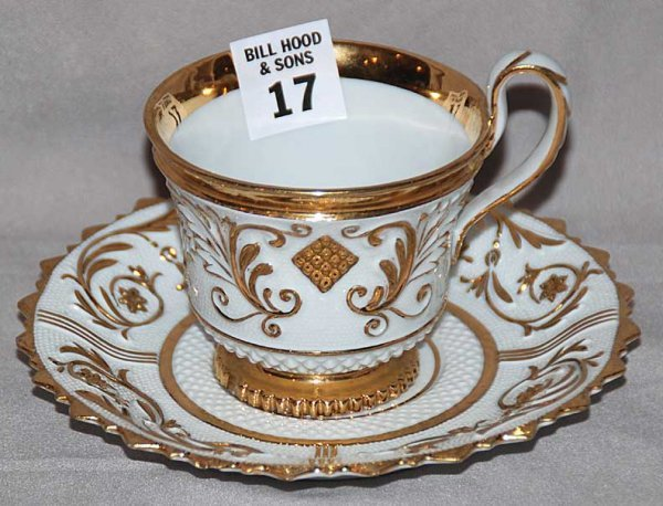 17: Meissen cup & saucer, white porcelain with gold acc