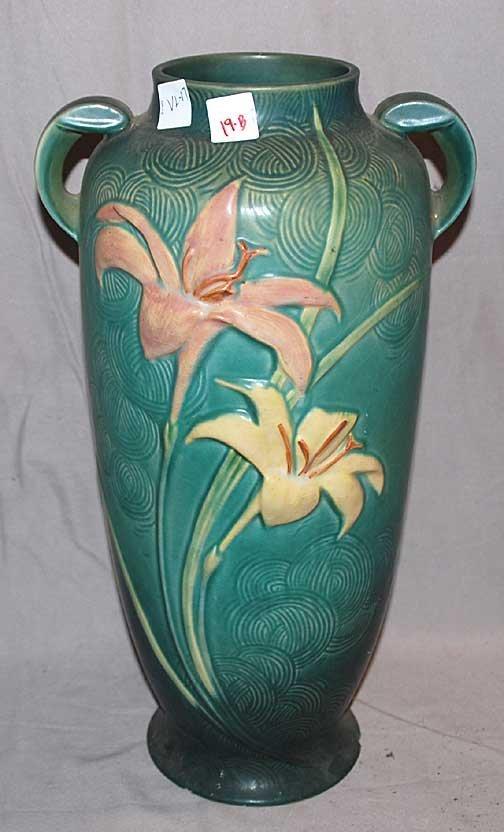 """19B: Roseville American Pottery tall vase, 18""""h"""