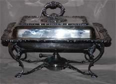25: Sheffield silver plate chafing dish, ornately decor