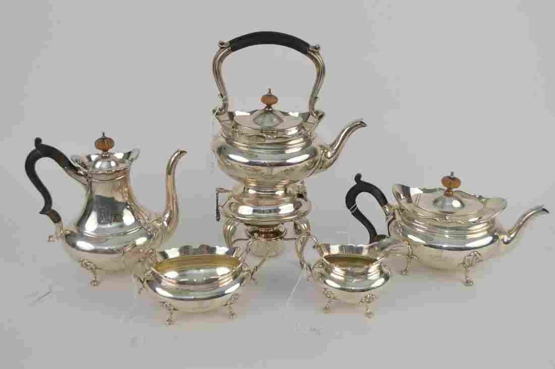 Sterling Silver 5 pc Coffee Tea Set.  Monogrammed with