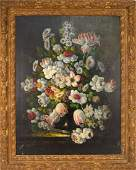 Dutch School oil on canvas, old master floral style
