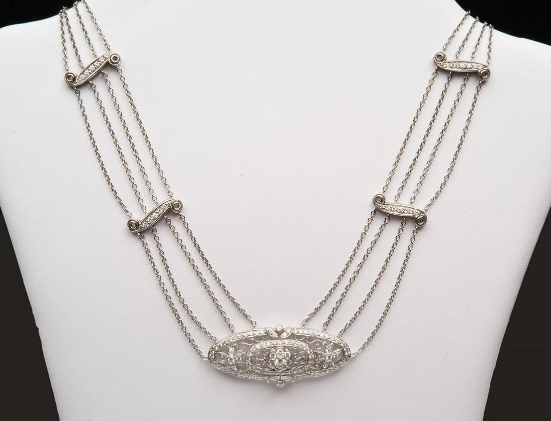 18k White Gold Art Deco Multi-strand Diamond Necklace.