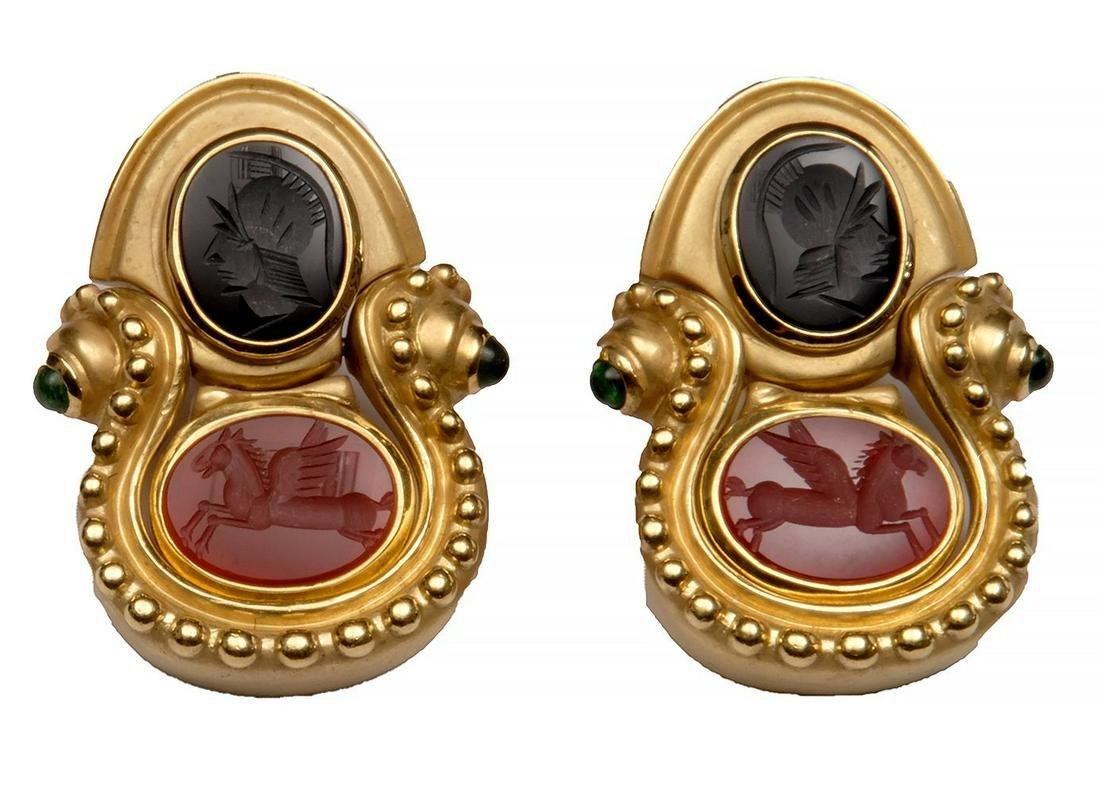 18k Yellow Gold Roman Soldier & Pegasus Earrings Onyx