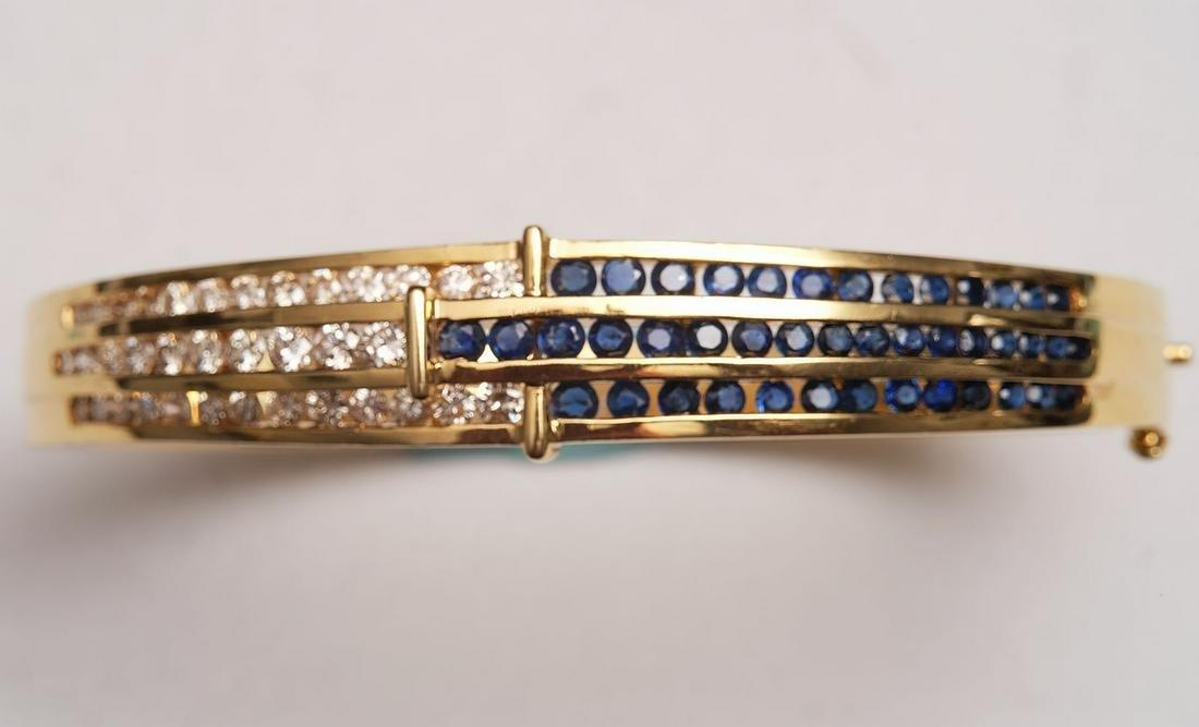 "18k Yellow Gold Diamond Sapphire bracelet. Size 6.5"""