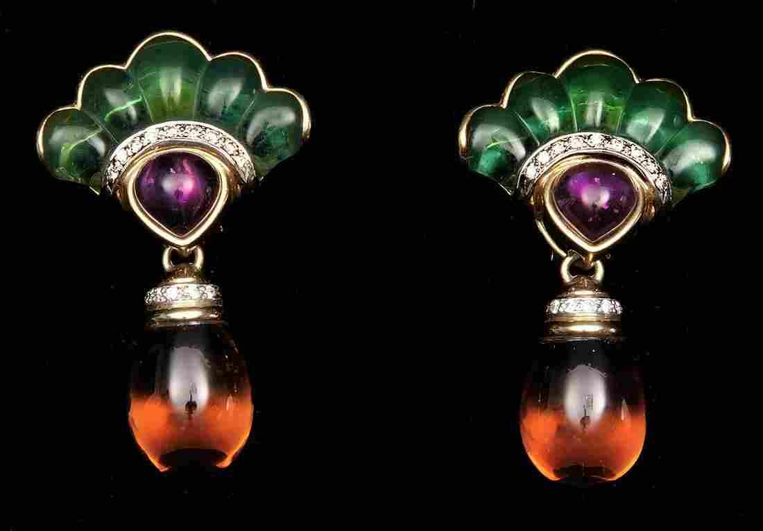 18k Yellow Gold Multi stone Earrings. Diamond Emerald