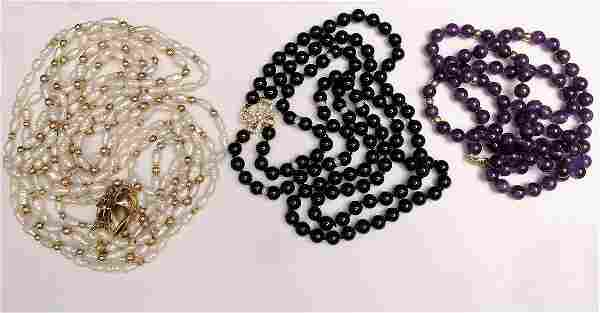 3- 14k Gold Clasp & Bead Necklaces. 1 Onyx Bead with