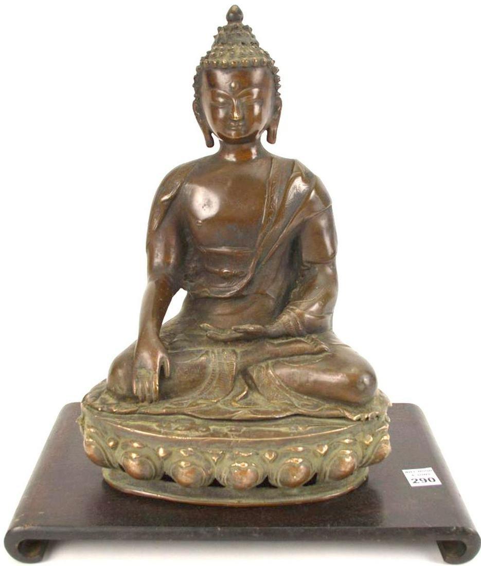 Vintage Large Bronze buddha on Mahogany Stand, buddha