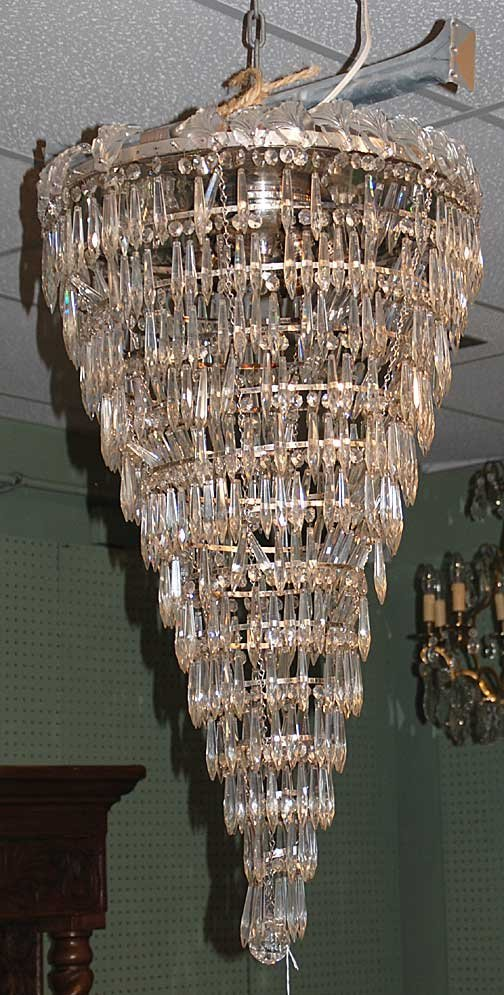 """1008: Fabulous 36""""h x 24""""w crystal chandelier, multi-le"""