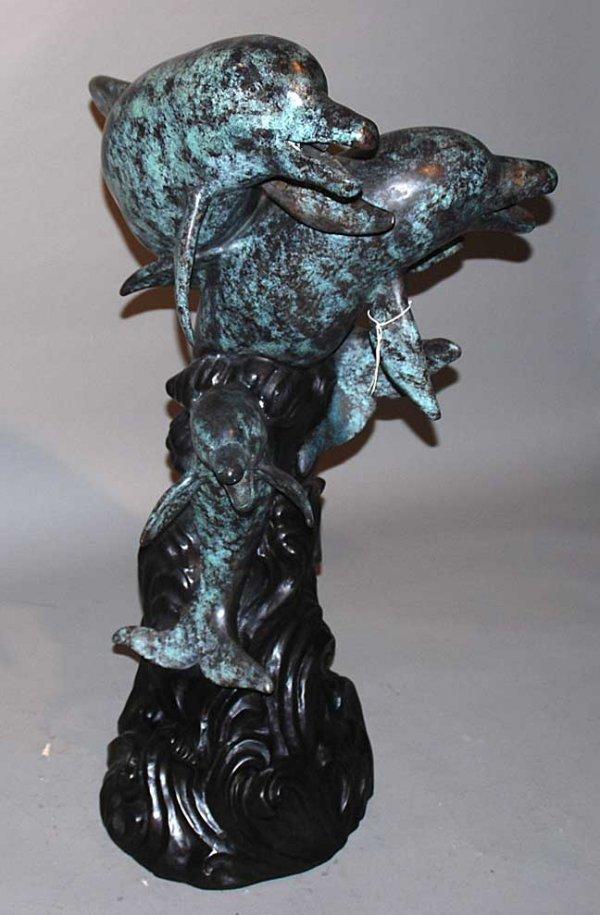 "1009: Bronze dolphin fountain, 32""h - 2"