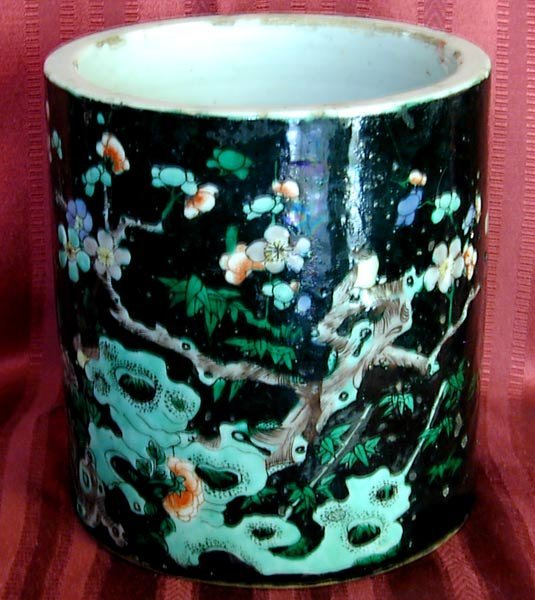 1011: Early 19th cent. Chinese FAMILLE NOIRE porcelain
