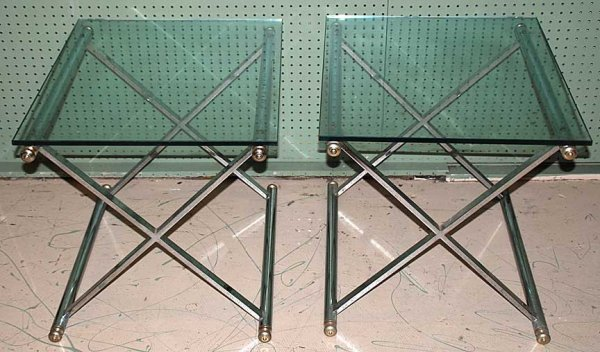 1015: Pair of occasional tables, tubular steel with hea