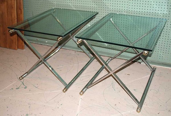 1015: Pair of occasional tables, tubular steel with hea - 2