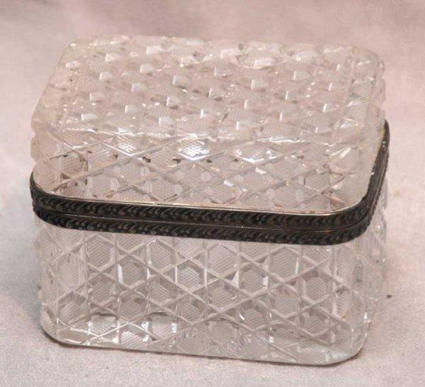 """1019B: Small cut glass hinged box, 4 1/4""""L x 3""""w x 3""""h"""