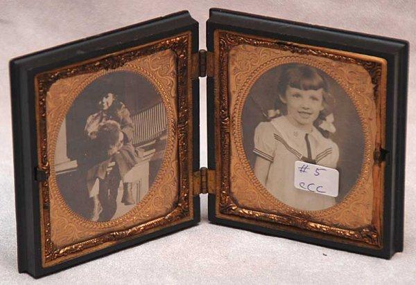 "1019C: Guttenpercha 2 silver frames, 6 1/2""L x 3 3/4""h"