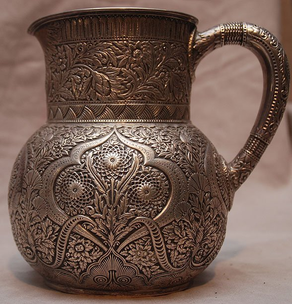 1137: Tiffany sterling water pitcher , marked Tiffany & - 3