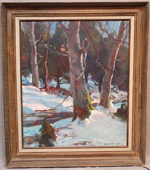 1165A: Emile A. Gruppe, 1896-1978, N.Y,N.Y, snow scene