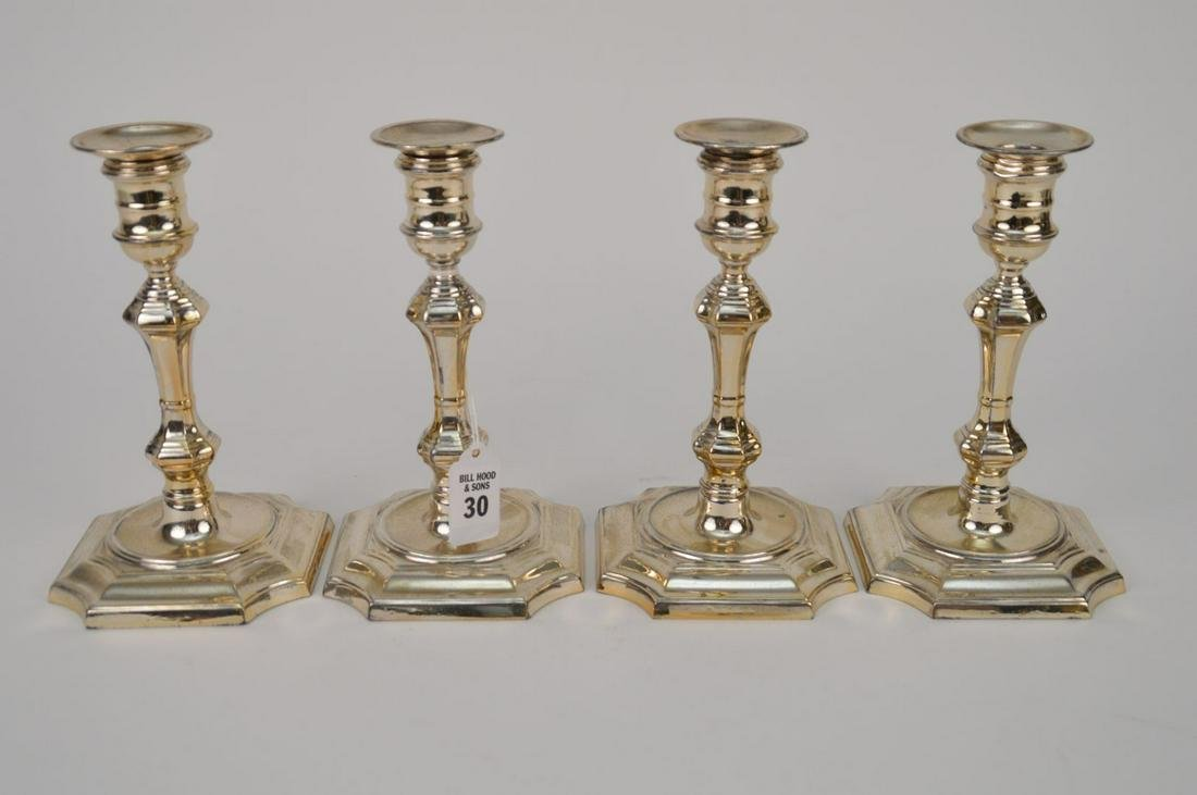 4 STERLING SILVER CANDLESTICKS.  Condition: no damage