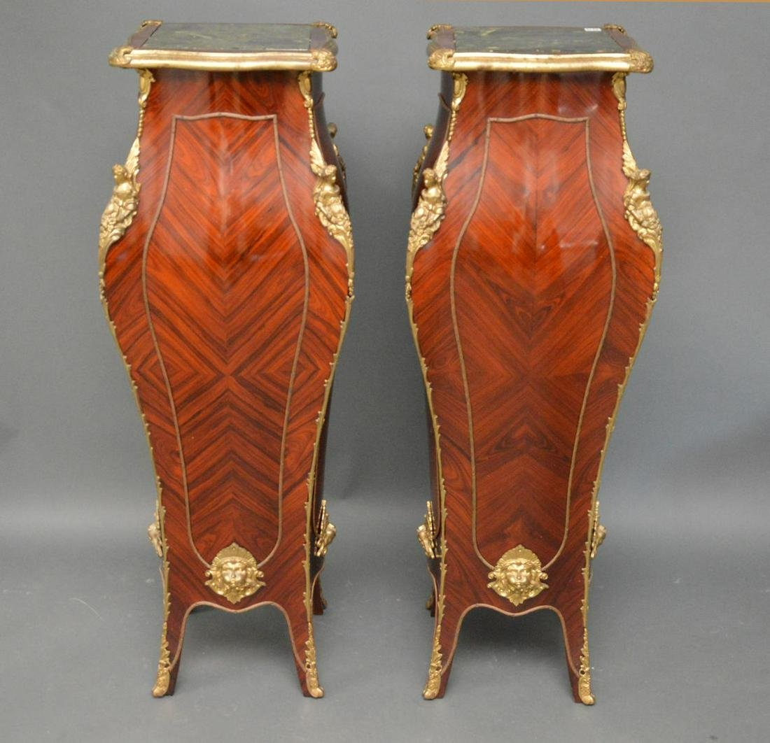 Pair Bombay Pedestals With Gilt Metal Mounts, Marble