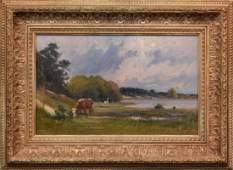 Paul Mishel (German Born 1862) oil on canvas, cows