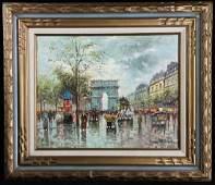 Antoine Blanchard French Street Scene o/c Painting