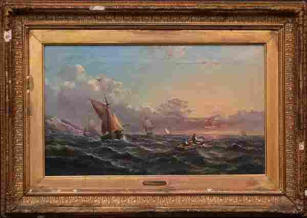 19th Century J. Mundek sunset ship painting oil on