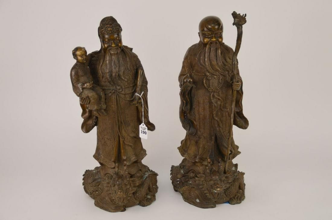 PAIR CHINESE BRONZE FIGURES depicting two wise men.