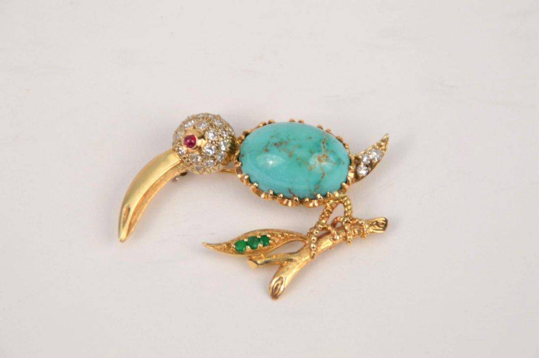 14K Yellow Gold Turquoise Diamond Emerald Ruby Eye