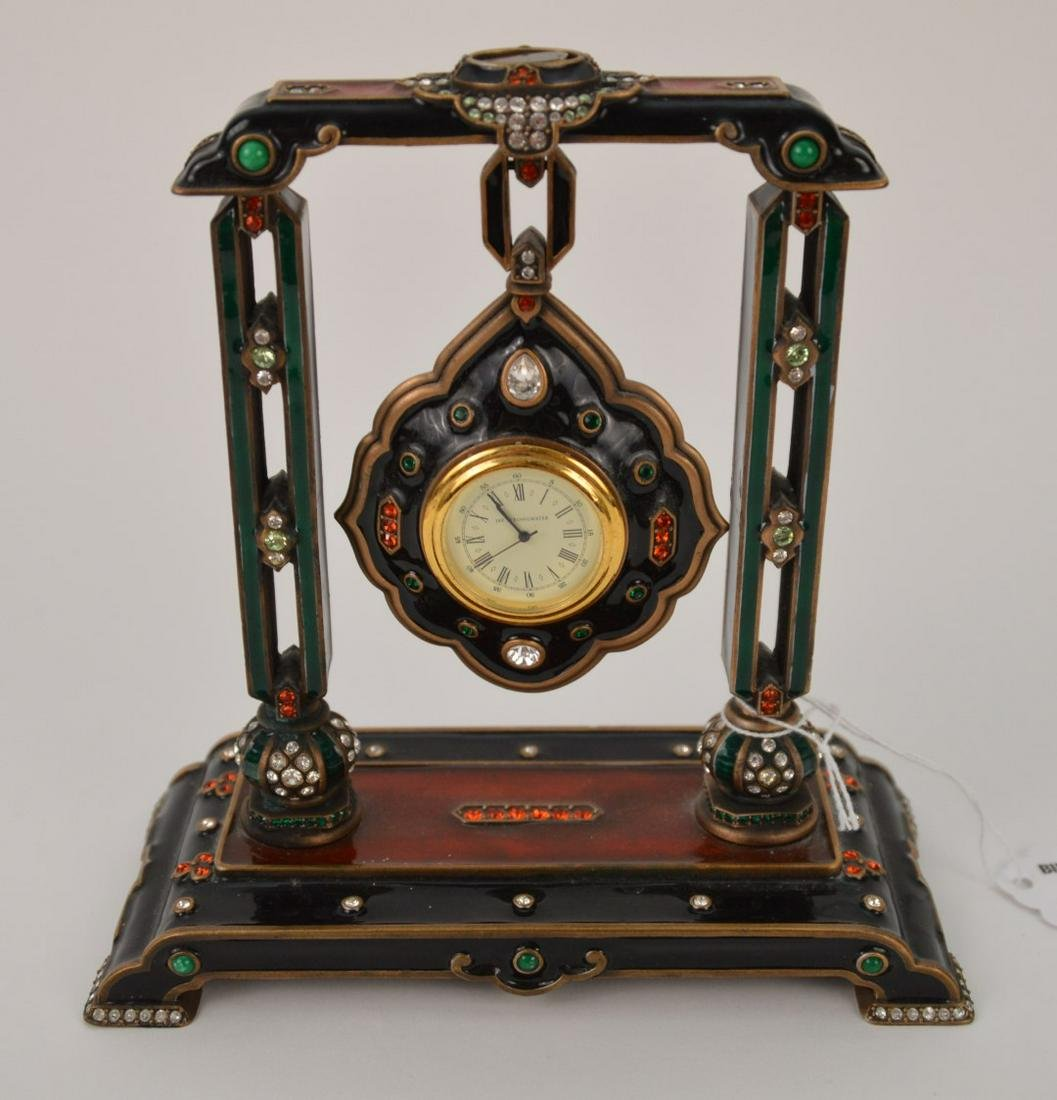 """Jay Strongwater Hanging Medallion Clock, 6 3/4""""h x 7""""w"""