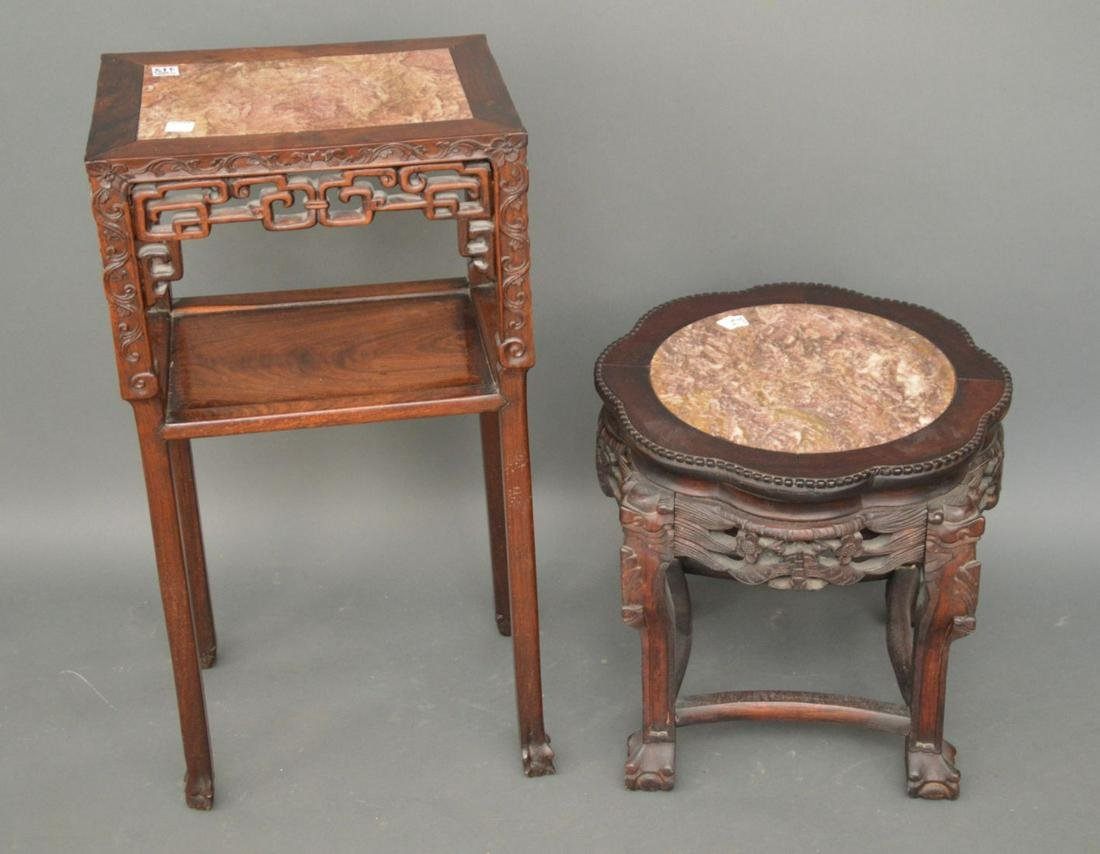 """2 Carved Chinese stands each with marble inserts, 18""""h"""