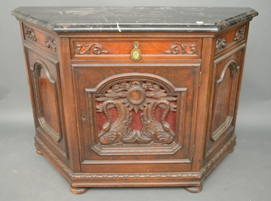 Carved Continental sideboard/console with black marble