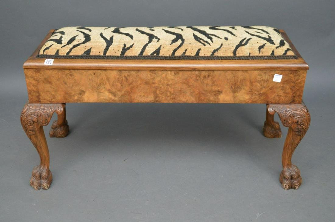 Piano bench with hinged top, Continental burled walnut