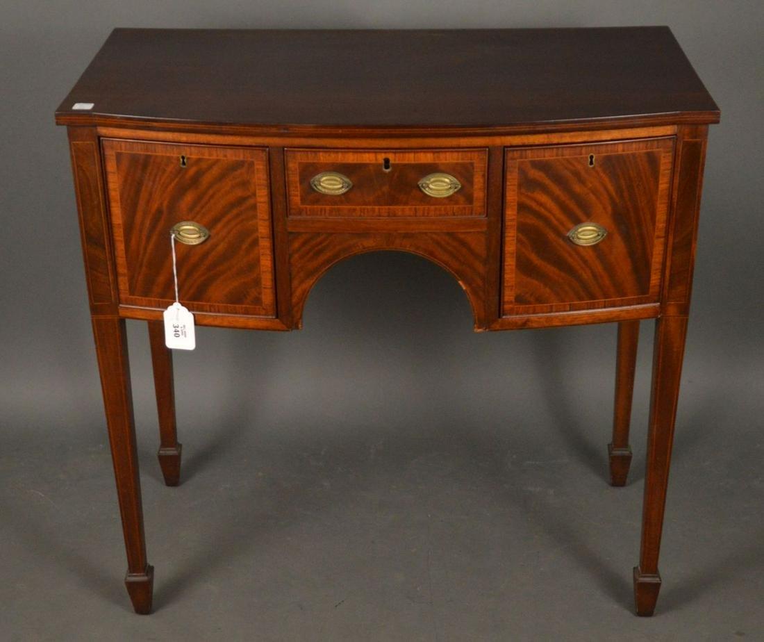 Small Mahogany Bowed Sideboard, center drawer flanked