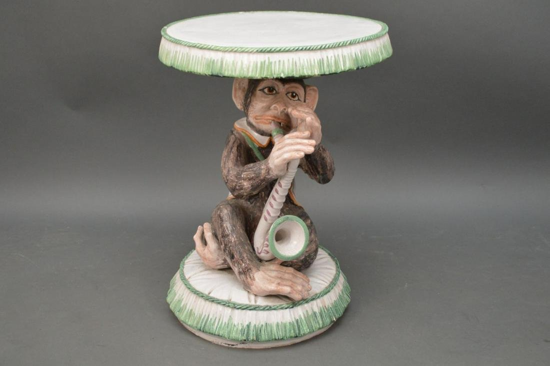 """Ceramic Garden Seat with Monkey Pedestal, 25""""h x 18"""