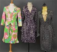 Diane Von Furstenberg Vintage Wrap Black Dress, Purple