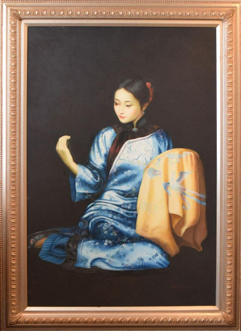 Asian painting of Chinese girl in silk robe, oil on