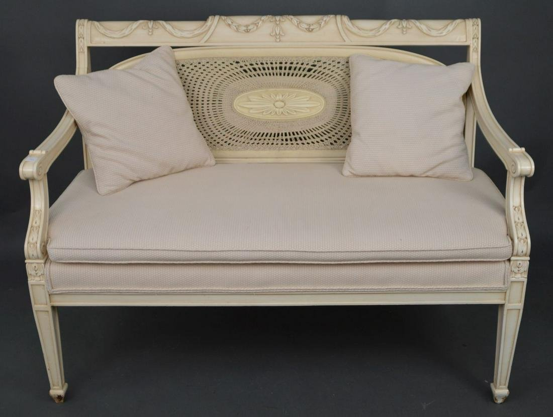 Bench, oval frame caned back with cream color