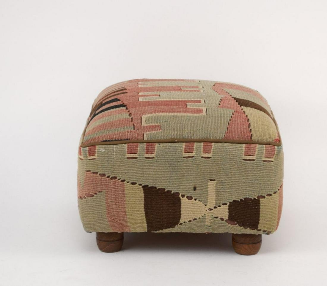 """Small footstool with Kilim fabric, 12"""" x 12"""" x 18"""""""