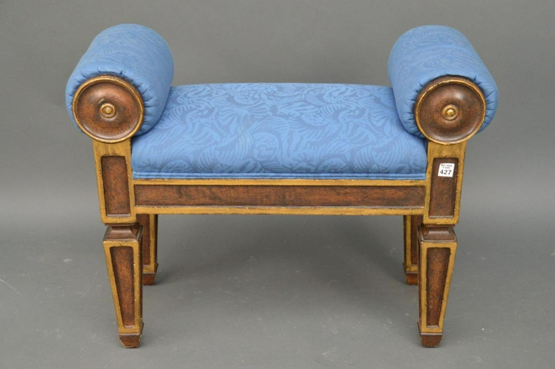 Small Directoire Style Bench with blue upholstery, 23""