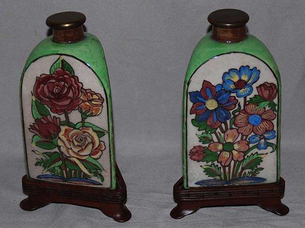"10: Pair ""Made in Iran"" porcelain floral scent bottles,"