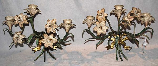 12: Pair of 3 light floral with bow painted metal sconc