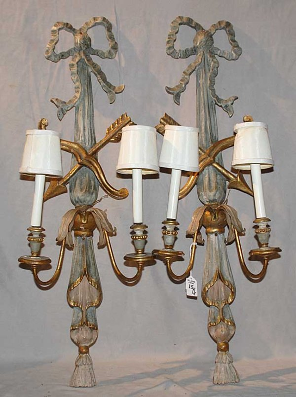 15: Pair of 19th cent. carved 2 light wood sconces, bow