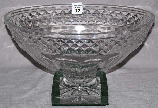 "17: Large crystal centerpiece bowl, probably Irish, 16"""